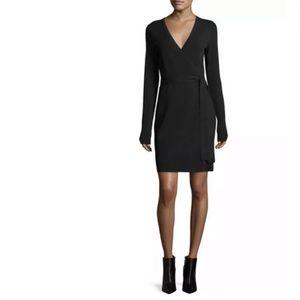 Diane Von Furstenberg Black Wrap Dress Draped Sz 0